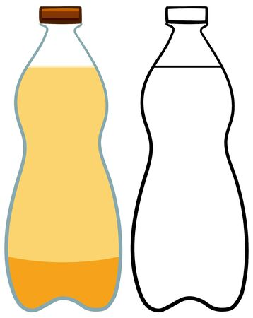 Glass of light beer. Colored and line version. White background, vector.