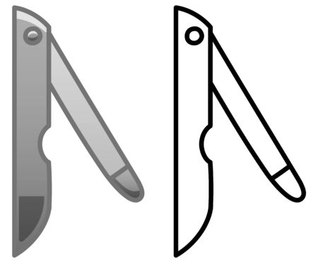 Gray metal nail file. Colored and line version. White background, vector.
