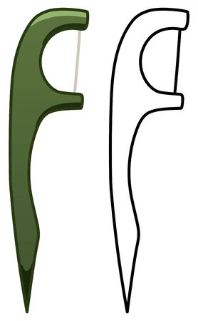 Green dental floss with handle. Colored and line version. White background, vector.