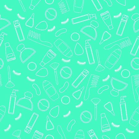 Seamless pattern of white line eyelashes, combs, cotton pads, cleansers, soaps, perfume bottles, make up brushes, shower gels, nail polish, creams, sculpting powder and applicators. Mint background, vector.