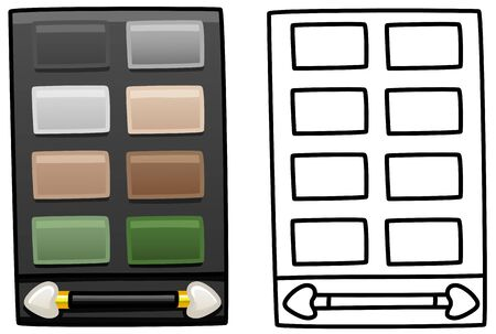 Eyeshadow palette with eight color and applicator. Colored and line version. White background, vector.