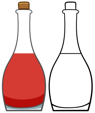 Glass bottle of red wine. Colored and line version. White background, vector.