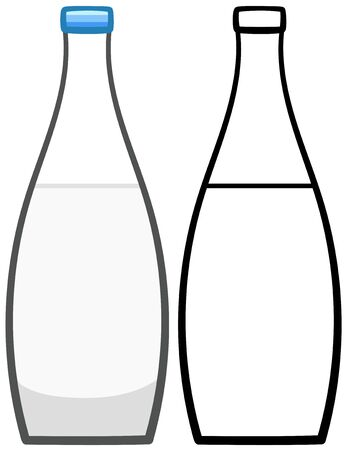 Mineral water bottle in colored and line versions