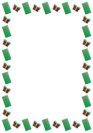 Rectangle frame with red and green gift boxes Stock Illustratie