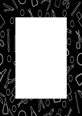 Black rectangle vertical frame with manicure accessories in white lines. Manicure scissors, tweezers, scrapers, nail files, cotton pads and nail polish. White place for text, vector. Stock fotó - 131942700