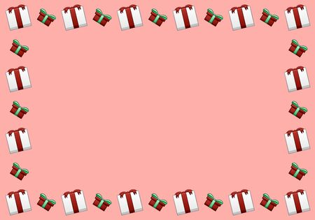 Rectangle horizontal frame made of white Christmas gift boxes with red ribbons and bows and red boxes with green ribbons and bows. Pink background, vector. Stock Illustratie