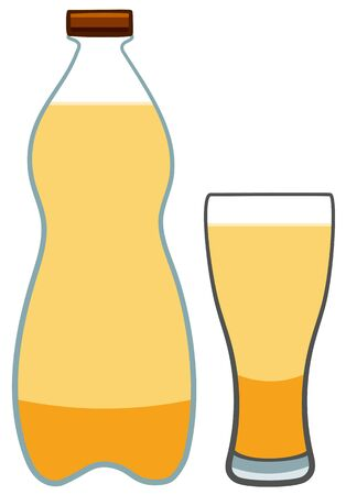 Plastic bottle and glass with light beer. White background, vector.