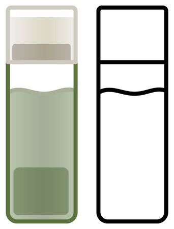 Plastic bottle of green nail polish remover. Colored and line version. White background, vector.
