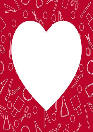 Red frame with manicure accessories in white lines. Manicure scissors, tweezers, scrapers, nail files, cotton pads and nail polish. White place for text in the shape of a heart, vector.