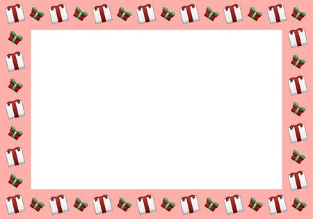 Pink rectangle horizontal frame made of white Christmas gift boxes with red ribbons and bows and red boxes with green ribbons and bows. White place for text, vector. Stock Illustratie