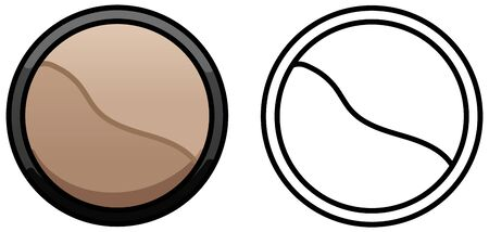 Sculpting powder with brown and beige halfs. Colored and line version. White background, vector. Illustration