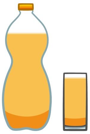 Plastic bottle and glass with orange soda. White background, vector.