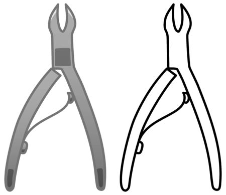 Gray metal cuticle nipper. Colored and line version. White background, vector.