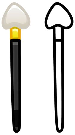 Make up applicator with black handle. Colored and line version. White background, vector.