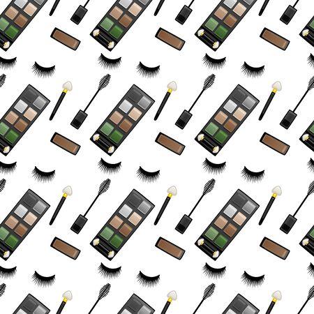 Seamless pattern with false eyelashes, mascara brushes, eyeshadow palettes and applicators. White background, vector.
