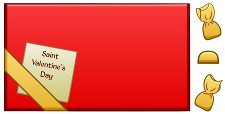 Red box of chocolates with a greeting card in honor of Saint Valentines day on it. White background, vector.