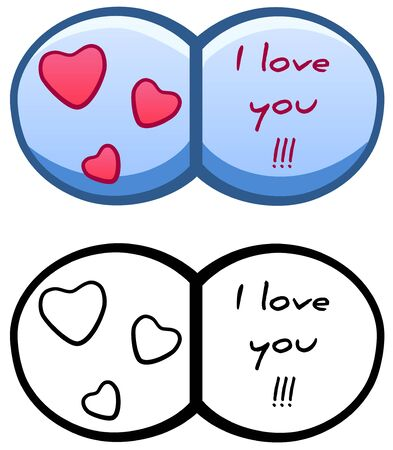 Blue Saint Valentine's Day greeting card in colored and line versions. White background, vector.