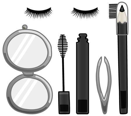 Pocket mirror, mascara, tweezers, eyebrow pencil and false eyelashes set. White background, vector.