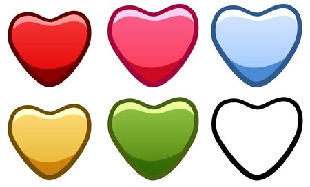 Set of six hearts. Red, pink, blue, yellow, green and lined. White background, vector. Çizim