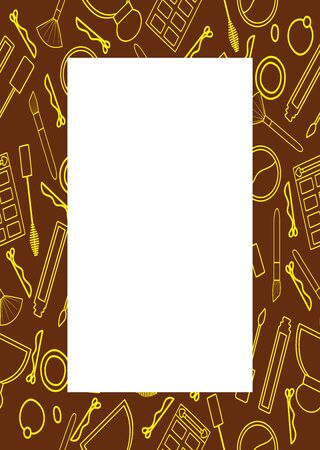 Brown frame with beauty products pattern in yellow lines. Makeup brush, mascara, lip gloss, hair band, perfume, eyeshadow palette, sculpting powder, hairpin. White place for text, vector. Illustration