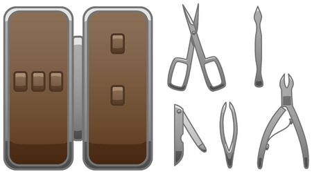 Manicure accessories set. Empty brown manicure case. Manicure scissors, tweezers, cuticle pusher, nail file and nipper. White background, vector. Standard-Bild - 132561298