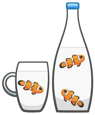 Three Clownfishes in glass bottle and mug with mineral water. White background, vector.