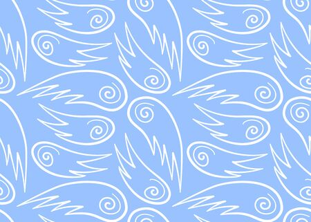 Seamless pattern with white line wings. Blue background, vector.