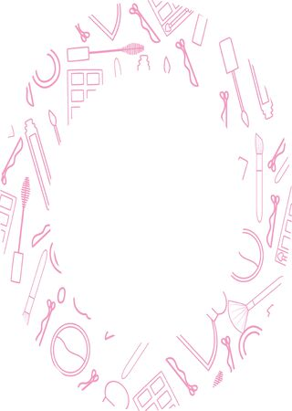Round frame with makeup pattern in pink lines. Makeup brush, mascara, lip gloss, perfume, eyeshadow palette, hairpin, hair band and sculpting powder. White backgrond, vector. Stock Vector - 132615094