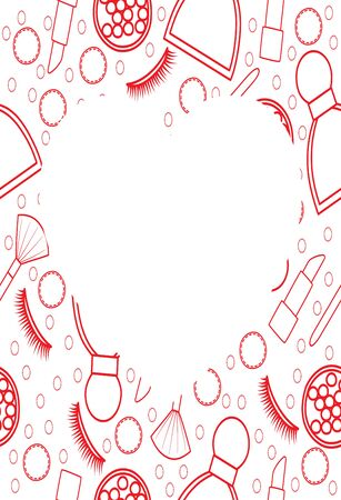 Frame in the shape of a heart with red line makeup pattern. Makeup brush, false eyelashes, lipstick, perfume, blush balls, hair band, cotton pad. White background, vector. Ilustração