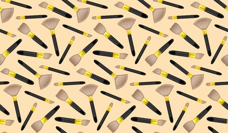 Makeup brushes seamless pattern. Beige background, vector. Stock Vector - 132931601