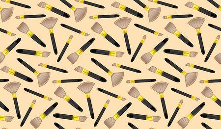 Makeup brushes seamless pattern. Beige background, vector. Illustration