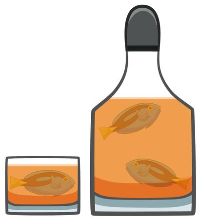 Three Surgeonfishes inside of bottle and glass of whiskey. White background, vector. Vectores