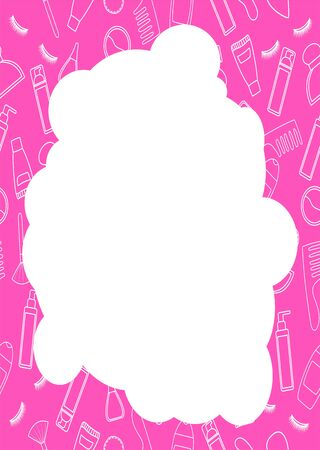Pink frame in the shape of a cloud with white line beauty products pattern. White place for text, vector. Illustration