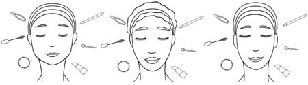 Asian, European and African american smiling women with make up tools around their heads in lines. Tweezers, mascara brush, cotton pad, eye pencil, applicator and lipstick. White backgroun, vector.