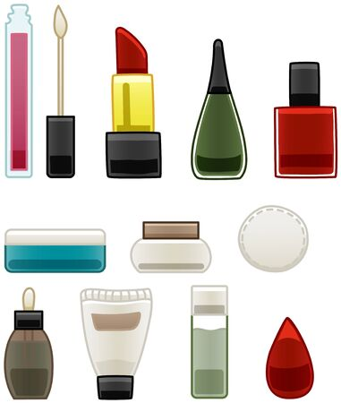 Beauty products for face and fingernails set isolated. Lip gloss, lipstick, nail polish, cream, cotton pad, face serum, nail polish remover, beaury blender. White background, vector.