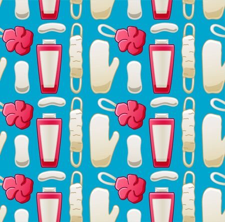 Seamless pattern with products for washing. Beige soap, beige and pink shower sponge, shower mitten and pink shower gel. Blue background, vector. Иллюстрация