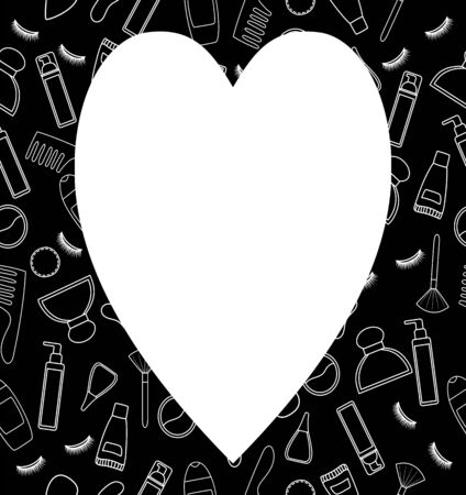 Black frame with beauty products pattern in white lines. White place for text in the shape of a heart, vector. Illustration