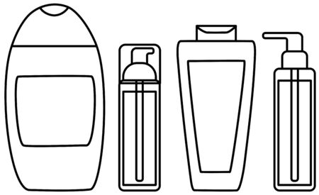 Cleansers, shampoo, shower gel set in black lines. White background, vector. Illustration