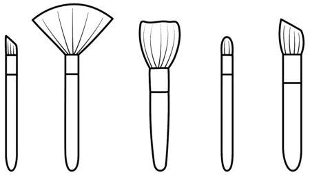 Set of five make up brushes in black lines. White background, vector. Illustration