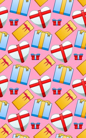 Seamless pattern with giftboxes for Valentines day. Red box with blue ribbon, yellow box with red ribbon, white box with red ribbon and blue box with yellow ribbon. Pink background, vector.