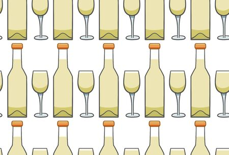 Bottle and glass of white wine seamless pattern. White background, vector. Illustration