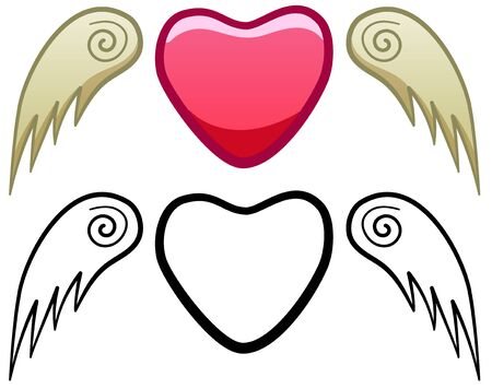 Pink heart with beige wings for Saint Valentines day. Colored and line version. White background, vector.