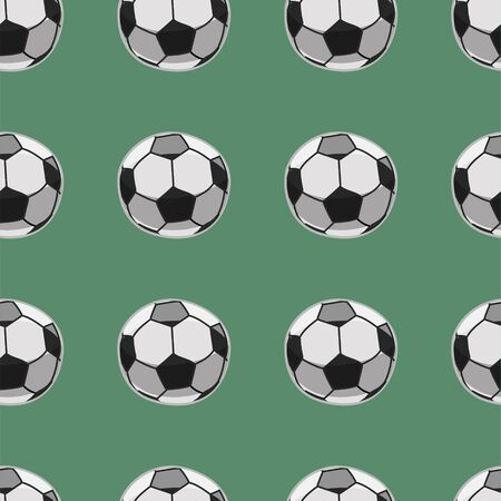 Seamless pattern with soccer balls. Green background