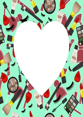 Green frame with beauty products pattern. False eyelashes, mascara brushes, lipsticks, blush balls, applicators, eyeshadow palettes, cream tubes, eyebrow pencils and makeup brushes. Place for text in the shape of a heart, vector. Illustration