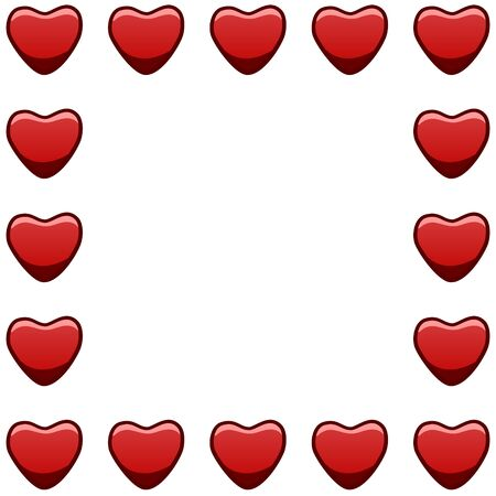 Square frame with red hearts. White background, vector.