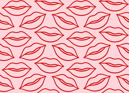 Red line lips kisses seamless pattern. Pink background, vector.
