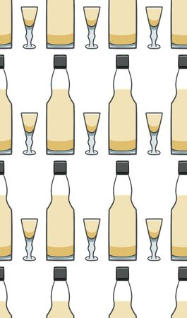 Bottle and glass with sherry seamless pattern. White background, vector. Illustration