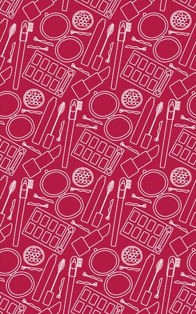 Seamless pattern with pocket mirror, mascara, lipstick, eyebrow pencil, eyeshadow palette, hairpin and blush balls. Red background, vector.