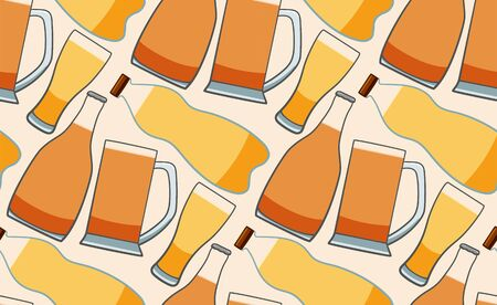 Bottles and glasses of beer seamless pattern. White background, vector.