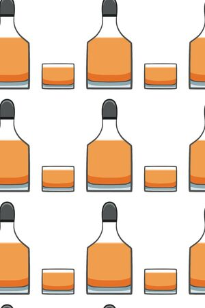 Bottle and glass of whiskey seamless pattern. White background, vector. Illustration